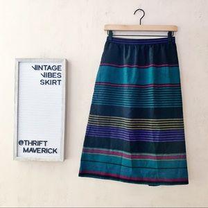 Magenta & Teal Stripped Aline Skirt | Vintage